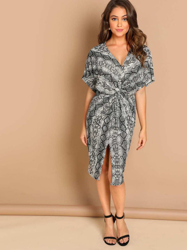 Twist Split Front Leopard Print Dress - Multicolor