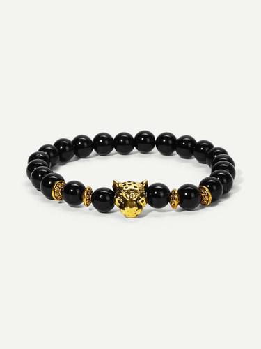 Men Leopard Detail Beaded Bracelet