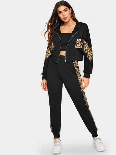 Leopard Panel Zip Up Hooded Sweatshirt and Sweatpants Set