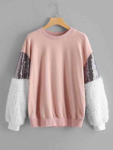 Contrast Faux Fur Sleeve Sweatshirt - 959f6c2c