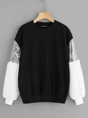 Teddy & Sequin Sleeve Color Block Pullover