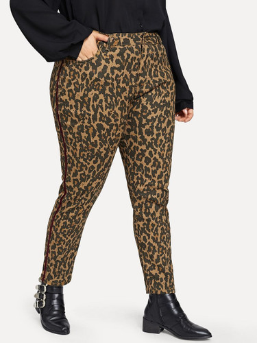 Plus Leopard Print Skinny Jeans