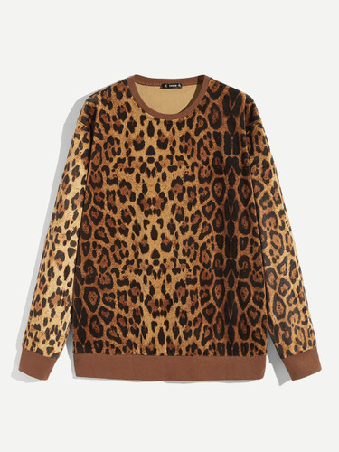 Men Leopard Print Rib-knit Trim Pullover
