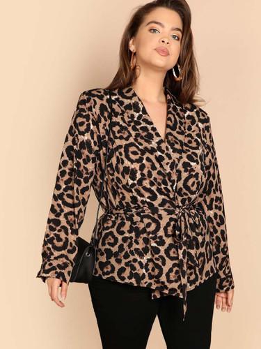 Plus Shawl Collar Belted Leopard Blazer