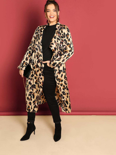 Plus Drop Shoulder Leopard Satin Coat