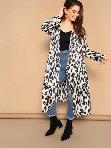 Plus Leopard Print Drape Collar Longline Coat