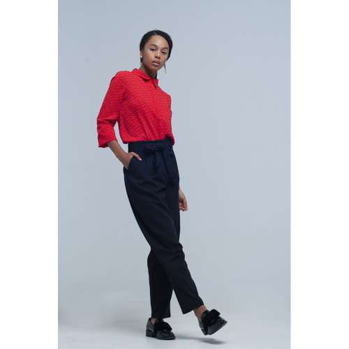 High waist black pants with belt