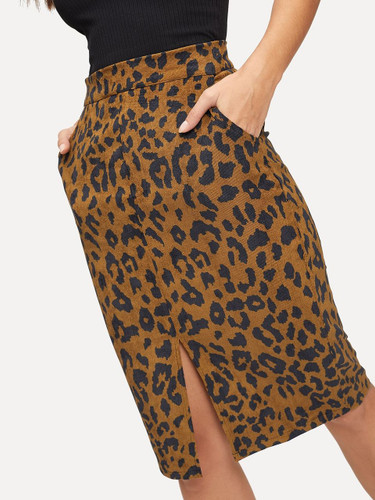 Cheetah Print Split Corduroy Skirt