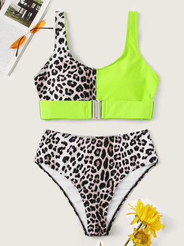 Neon Lime Buckle Top With High Waist Bikini