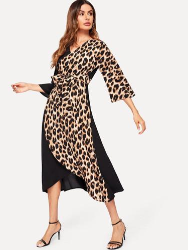 Contrast Leopard Belted Wrap Dress