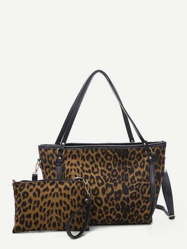 Leopard Pattern Tote Bag With Clutch Bag