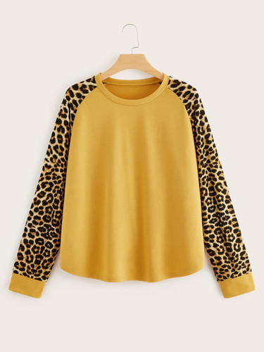 Plus Leopard Raglan Sleeve Sweatshirt