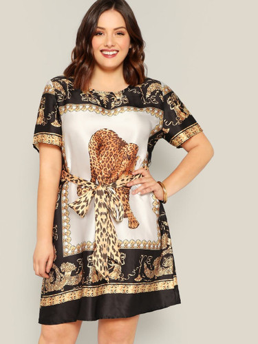 Plus Scarf and Animal Print Self Belted Dress