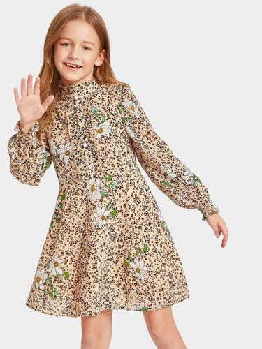 Girls Frilled Button Placket Floral & Leopard Print Dress