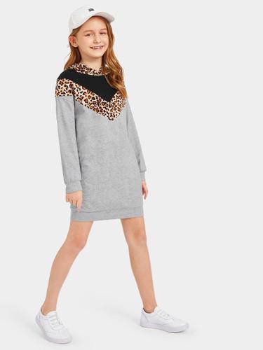 Girls Cut-and-sew Chevron Hoodie Dress