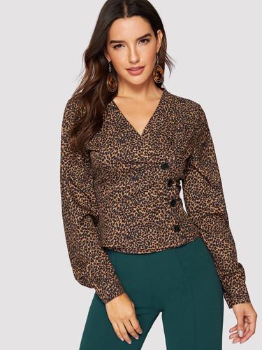 Button Front Cheetah Print Blouse