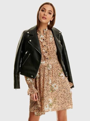 Ruffle Detail Button Leopard Print Dress
