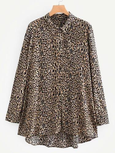 Leopard Print Dip Hem Blouse