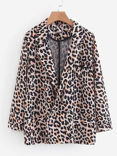 Leopard Print Cuffed Blazer