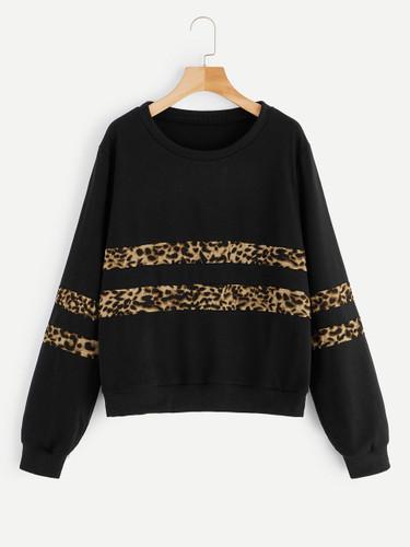 Plus Leopard Panel Sweatshirt