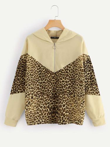 Color-Block Leopard Print Sweatshirt