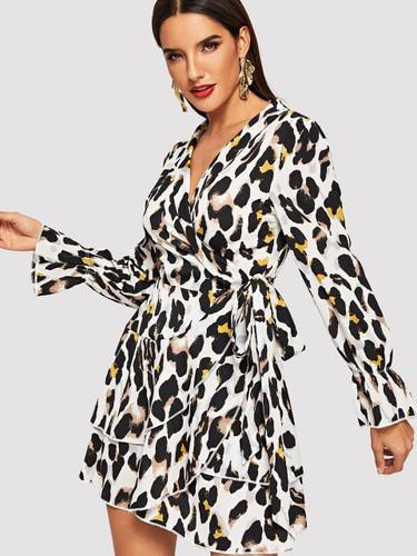 Flounce Sleeve Leopard Print Dress - Multicolor