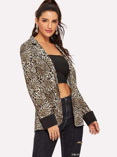 Cheetah Print Single Breasted Blazer