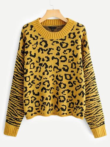 Drop Shoulder Leopard Print Jumper