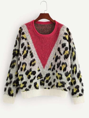 Color-Block Leopard Print Sweater