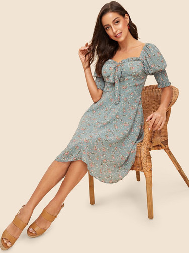 50s Knot Front Leg-of-mutton Sleeve Floral Dress