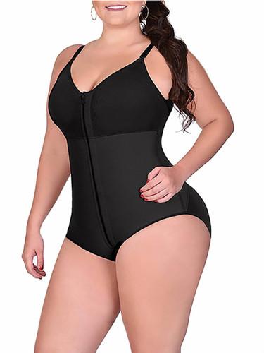 Plus Zipper-up Shapewear Bodysuit