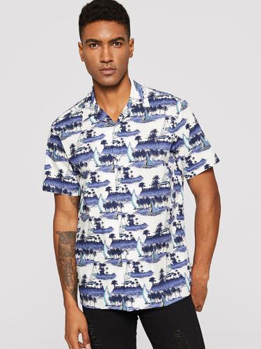 Men Coconut Tree & Boat Print Shirt