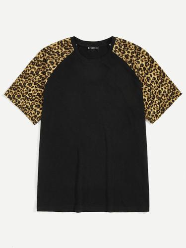 Men Leopard Print Raglan Sleeve Tee