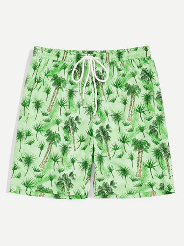 Men Plants Print Drawstring Waist Shorts