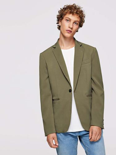 Men Button & Pocket Up Notched Neck Blazer