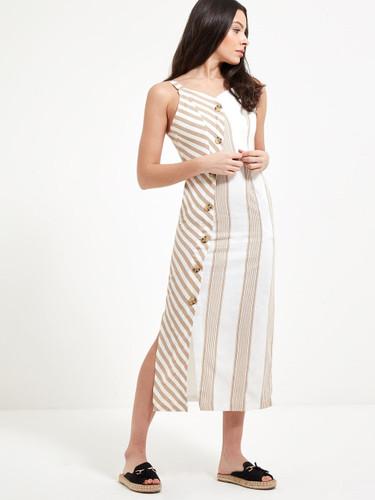 Asymmetric Button Front Mix Stripe Dress