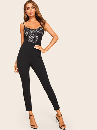 Floral Lace Insert Tailored Cami Jumpsuit
