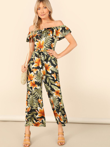 Flounce Foldover Off Shoulder Wide Leg Jumpsuit