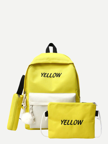 Slogan Embroidered Pom Pom Decor Backpack
