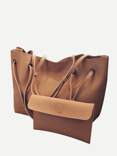 2 Pcs Tote Match Clutch Bags Set - Brown