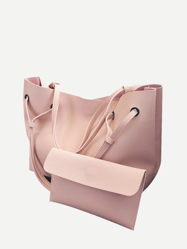 2 Pcs Tote Match Clutch Bags Set - Pink