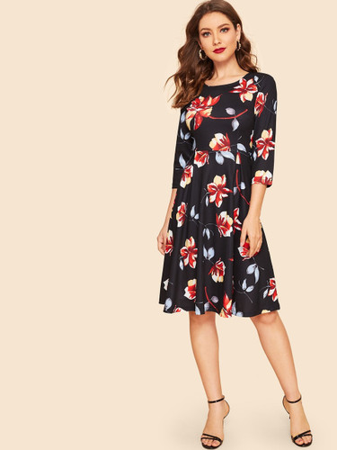 50s Floral Print Fit & Flare Dress