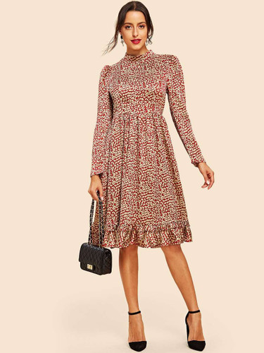Puff Sleeve Ruffle Trim Fit & Flare Dress