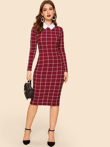 Contrast Collar Grid Pencil Dress