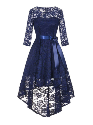 50s Guipure Lace Dip Hem Dress - Navy