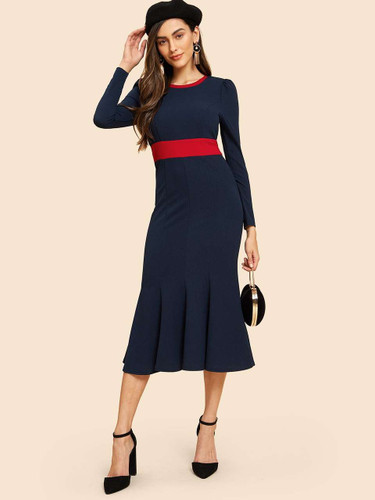 60s Contrast Neck and Waist Fishtail Dress
