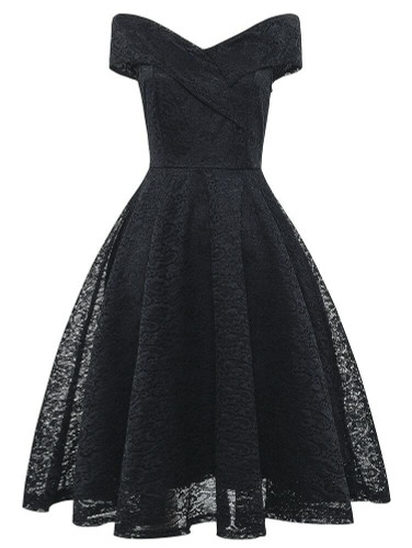 50s Off The Shoulder Flare Lace Dress