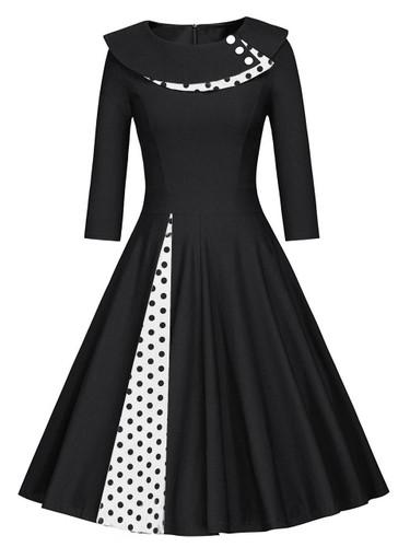 50s Polka Dot Button Decoration Flare Dress - Black