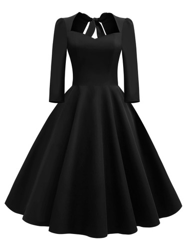50s Bow Tie Back Flare Dress - Black