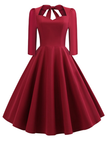50s Bow Tie Back Fit and Flare Dress